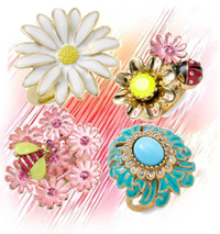 Floral flower cocktail rings