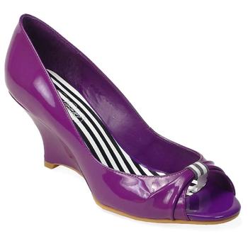 Purple patent peep toe pumps