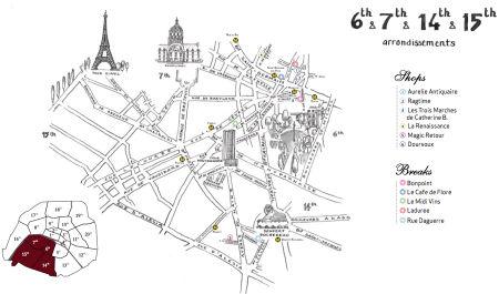 Paris vintage shopping map