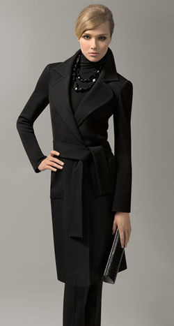 St john caviar black wool coat