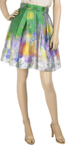 Watercolor print silk full knee skirt