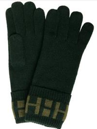 HERMES logo cashmere gloves
