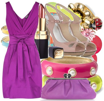 Pink spring cocktail dress accessories