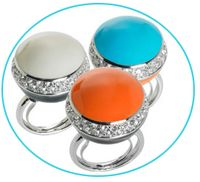 Orange turquoise rings