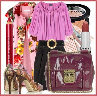 Pink blouse python pumps