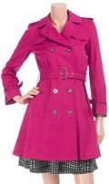 Hot pink fuchsia trench coat
