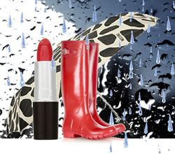 Red rain wellies