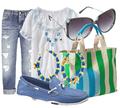 Blue boat shoes boyfriend jeans