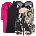 Hot pink spring coat little black dress