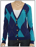 Blue argyle cardigan