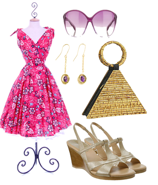 Cute pink retro sun dress