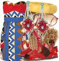 Tribal print dress red sandals