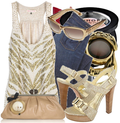 Gold sandals designer denim