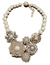 Faux pearl choker statement necklace