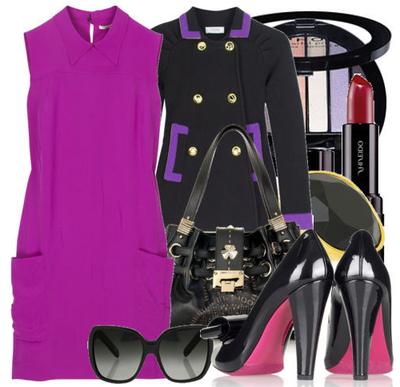 Hot pink fuchsia shift dress