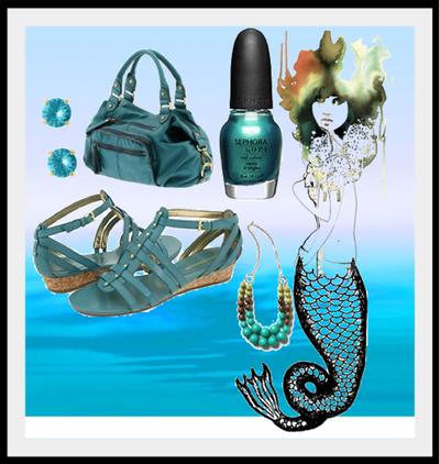 Green blue accessories nailpolish