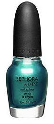 Blue green shimmery nail polish