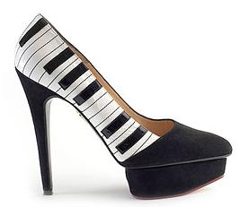 Black white piano key pumps shoes