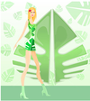 Green eco fashion illustration