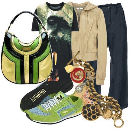 Lamb bag green sneakers