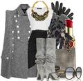 Gray grey tweed cape