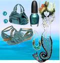 Blue green summer nail polish