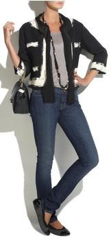 Chanel black white cropped jacket