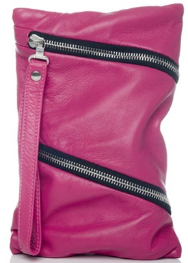 Hot pink fuchsia clutch bag