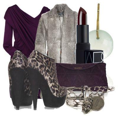 Dark purple jersey dress