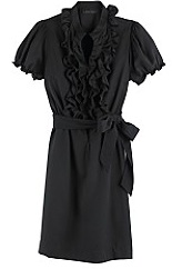 Black ruffle shirt dress