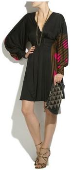 Black print silk jersey cocktail dress