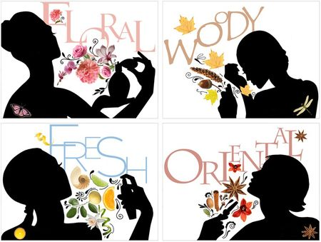 Perfume fragrance types illustration