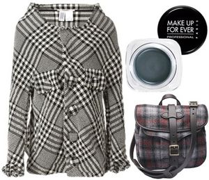 Menswear plaid jacket accessories bag
