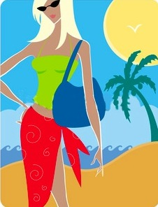 Resort beach vacation illustration