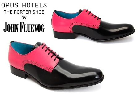 John fluevog pink black two tone shoes opus hotel