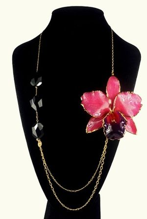 Orchid flower floral necklace handmade jewelry jewellery
