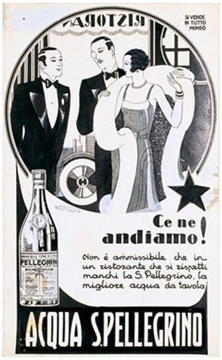 Vintage pellegrino water poster