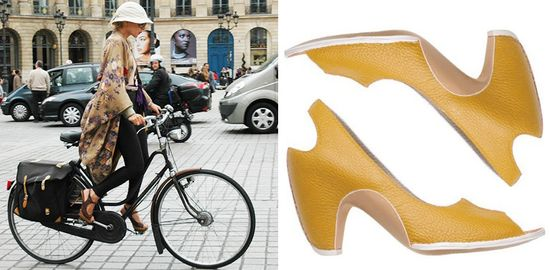 Girl riding her bike in heels copy