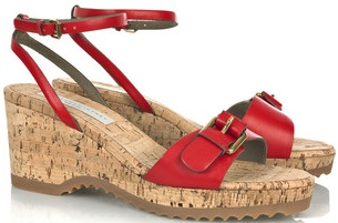 Cute red summer wedge sandals