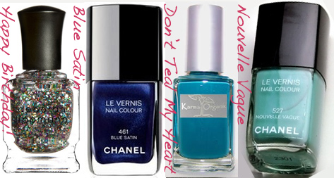 Summer nail polish blue green copy