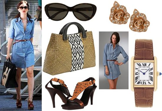 Gossip girl blair chambray shirt dress summer look