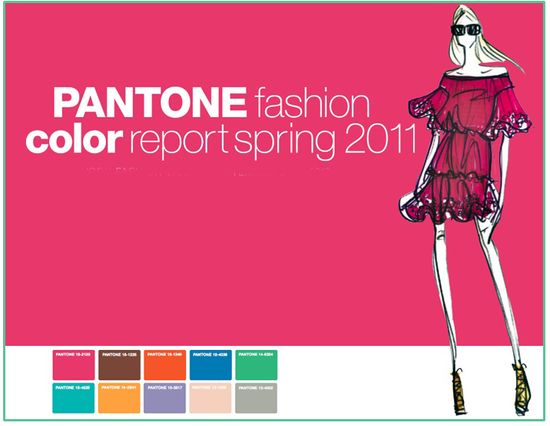 Pantone spring 2011 fashion week colors colours palette