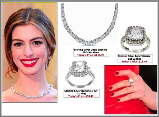 Anne hathaway oscars jewelry jewellery diamond necklace