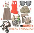 Khaki coral tribal fashion chic style