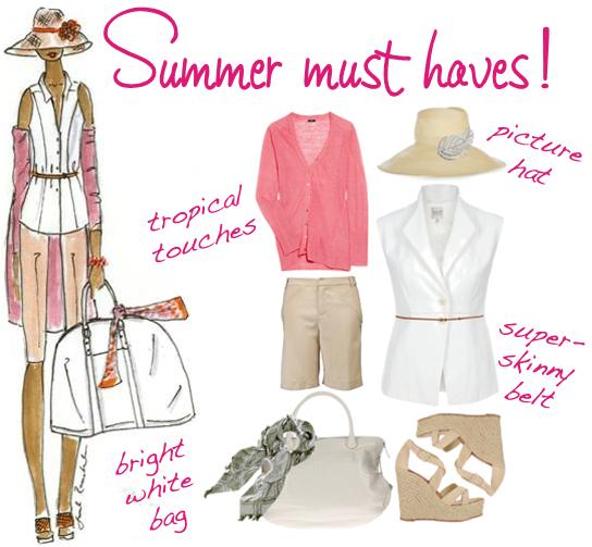 Pink white beige summer fashion must haves