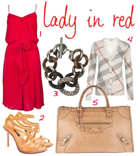 Red summer dress accessories