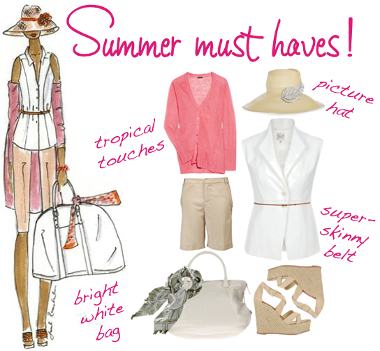 Pink white beige summer fashion must haves