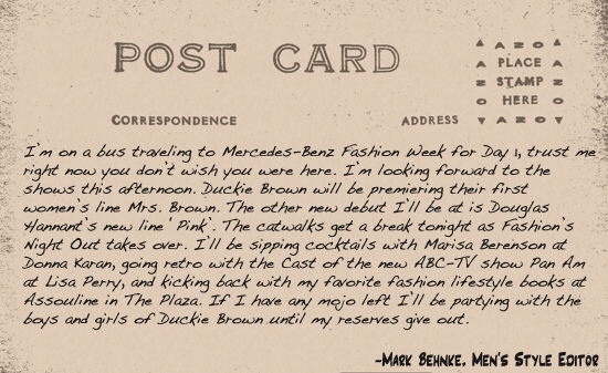 Fashion week postcard 1