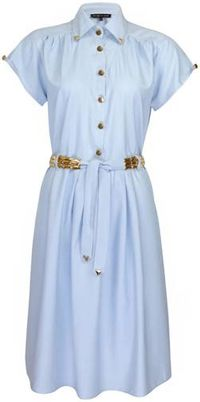 Chambray dress gold trim