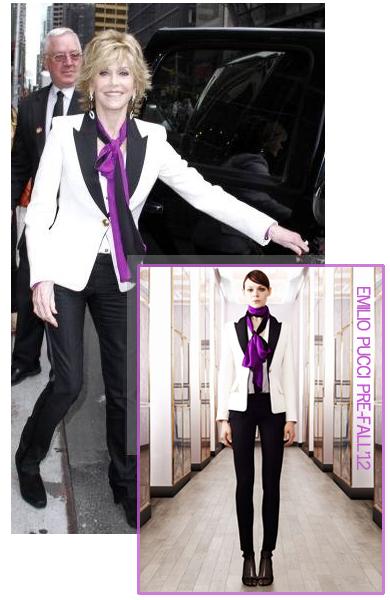 Jane fonda pucci white black smoking suit
